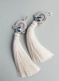Denim Earrings, Soutache Earrings, Pink Earrings, Bridal Earrings, Tassel Earrings, Etsy Earrings, Beaded Wedding Jewelry, Embroidery Jewelry, Bohemian Jewelry