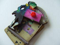 Royal frog Alice in wonderland  brooch wood by NewellsJewels