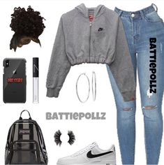 MORE PICTS You can also see more ideas about baby nike outfits , nike outfits sweatshirts , nike outfits volleyball , nike outfits dress , n. Swag Outfits For Girls, Boujee Outfits, Casual School Outfits, Cute Comfy Outfits, Teenage Girl Outfits, Tumblr Outfits, Teen Fashion Outfits, Cute Casual Outfits, Polyvore Outfits