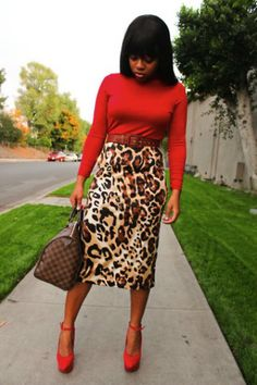 Leopard Print Pencil Skirt. Leopard and Red-one of my fav combos. ;)