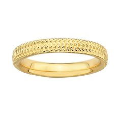 Stacks and Stones 18k Gold Over Silver Textured Stack Ring, Women's, Size: 10, Yellow