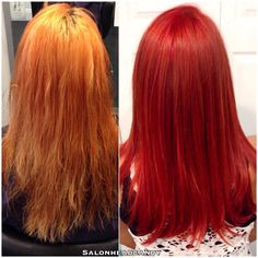 Amazing #transformation into this stunning dimensional bright red using Wella Koleston Intensive Reds! What an amazing #beforeandafter by our talented Kristin! #salonheadcandy #wellahair #redhair #makeover #modernsalon #americansalon #btcpics @btcmag