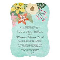 Beautiful Blooms Wedding Invitation / Aqua Invitation Card