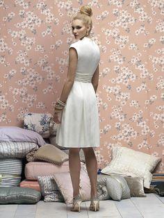 Cowl Neck Empire Satin Bridesmaid Dress