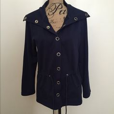 Navy Jacket This is a navy blue jacket from Classic Elements size Medium. Has drawstrings that can be pulled to enhance waist. Snap buttons & collar can be worn different ways. Pockets on sides. In excellent condition. Can possibly fit a size Large. Will post measurements soon. Classic Elements Jackets & Coats