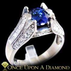 14K White Gold 1.78ctw Blue Sapphire & Diamond Cocktail Ring by Once Upon A Diamond