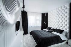 schlafzimmer schwarz weiß kleiner raum interessante wandgestaltung