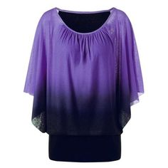 RoseWholesale - Rosewholesale Plus Size Ombre Butterfly Sleeve T-Shirt - AdoreWe.com