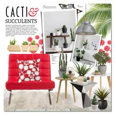 """Cacti Crazy"" by justlovedesign ❤ liked on Polyvore featuring interior, interiors, interior design, home, home decor, interior decorating, WALL, Dot & Bo, Native Union and Crate and Barrel"