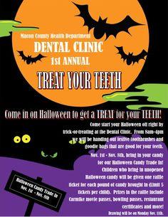 1st Annual TREAT YOUR TEETH! #healthyteeth, #tradeyourcandy, #nocavities!