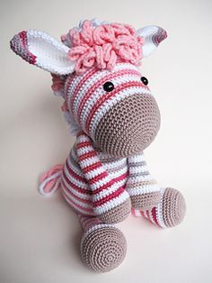 Crochet Patterns Ravelry You can use this modification pattern to change donkey Alex in Zoe zebra. Crochet Amigurumi, Knit Or Crochet, Cute Crochet, Amigurumi Patterns, Crochet Crafts, Crochet Dolls, Yarn Crafts, Crochet Patterns, Crochet Zebra Pattern