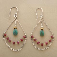 """Ruby & Turquoise Highwire Earrings  Like trapeze artists, drops of faceted turquoise fly above highwires of rubies on 14kt goldfilled links and sterling silver chains. 14kt goldfill. Sterling silver wires. Made in USA. Exclusive. 2-3/4""""L $148"""