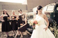 bride in front, bridesmaids in back