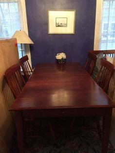 Large Dining Room Table with six chairs (two with arms). 60 x 37 without leaves. Leaves are 12 each (there are two). Priced to go! Chairs in great shape. Table has a slight sag in middle, more...