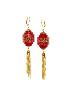 Ruby Chinese Lantern Earrings | PLASTICLAND Large Lanterns, Chinese Lanterns, 1960s Home Decor, Ruby Red, Compliments, Dangles, Drop Earrings, Beads, Unique