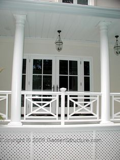 Florida Style Woodwork and a Verandah style Porch in Etobicoke Veranda Railing, Porch Railing Designs, Front Porch Railings, Balcony Railing Design, Deck Railings, Screened In Porch, Stair Railing, Garden Railings, Stair Design