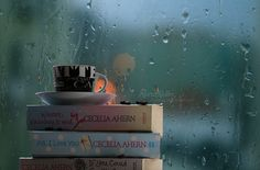rain, books, coffee, romantic, cecelia ahern