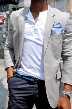 Lose the pocket square, love the bracelet, navy pants, belt, and combo blazer with casual shirt (non-t-shirt) Czytnik