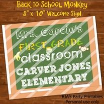 """Back to School Monkey – 8"""" x 10"""" Welcome Sign ------------------------------------------------------ WHAT'S INCLUDED WITH PURCHASE ------------------------------------------------------ PDF file with  - 1 printable sheet that can be printed as many times as you want. It will print on an 8 ½..."""