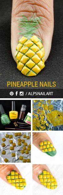 Pineapple fruit nail art tutorial by @Alpsnailart!