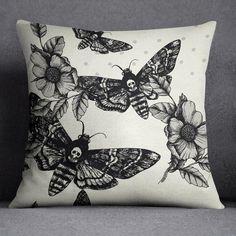 Cream Death Moth Decorative Throw Pillow