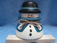 """This Teal Snowman is painted on a Hemmingray #42 and measures 4"""" X 4"""""""