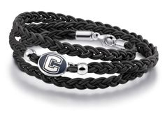 Connecticut UCONN Huskies Leather Wrap Bracelets and Jewelry. 6 Strand Braided Leather Strap. Solid Sterling Silver Bracelet Top. Bracelet Pictured on Hand Intended to Show Size Only!. Each Bracelet Made to Order. High Quality, Made in the U.S.A.