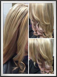 Rose gold & pink pastel peekaboo highlights