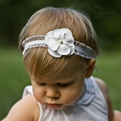 White Pearl Flower Headband Photo Prop Baby Elastic Ruffle Lace. Flower headband. Lace headband. Photography prop. Photo prop. Girls