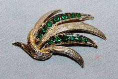 Vintage / Emerald / Green / Rhinestones / by AmericanHomestead