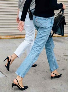 Jeans and slingbacks