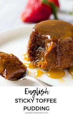 English Sticky Toffee Pudding is made with dates and drenched in best homemade caramel sauce. This dessert is a real treat. It& a gem of traditional English recipes. British Desserts, English Desserts, English Food, Mini Desserts, Delicious Desserts, English Recipes, Vegetarian Desserts, French Recipes, Italian Desserts
