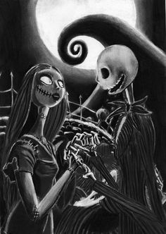 Nightmare Before Christmas Print, Jack and Sally Halloween, ARCadence Art. WANT!!!