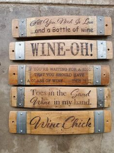 Whiskey Barrel Furniture, Wine Furniture, Rustic Furniture, Furniture Design, Wine Barrel Crafts, Barrel Projects, Laser Engraved Gifts, Wine Craft, Wine Signs