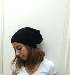 HAND KNİTTED Black slouchy beanie hat cabled beanie by MARYsworks