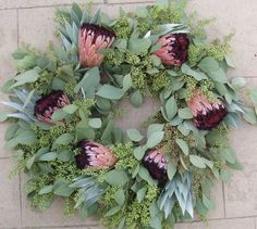 The silver tree with green seeded eucalyptus makes a nice background to the pink. The silver tree Wreaths And Garlands, Holiday Wreaths, Christmas Decorations, Holiday Ideas, Eucalyptus Wreath, Seeded Eucalyptus, Protea Flower, Christmas Love, Beach Christmas