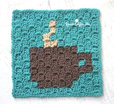 C2C Coffee Cup Granny Square - free crochet graph pattern at Repeat Crafter Me. 9 inch square.
