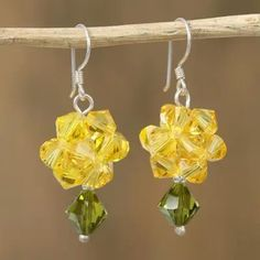 Crystal dangle earrings, 'Shooting Stars in Yellow' - Yellow Swarovski Crystal Dangle Earrings from Mexico Buy Crystals, Swarovski Crystals, Fall Jewelry, Jewelry Gifts, Gift Suggestions, Shooting Stars, Jewelry Packaging, Dangle Earrings, Dangles