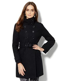 Double-Breasted Wool-Blend Coat  - New York