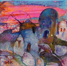 Artist: Inna Orlik Acrlylic colors on canvas. Small Paintings, Acrylic Colors, Original Artwork, Illustration Art, Sunset, The Originals, Canvas, Gallery, Frame
