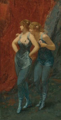 """"""" Two Dancers. Charles Hermans (Belgian, Oil on panel. Hermans studied with Louis Gallait in Brussels before attending Atelier Saint-Luc, a free studio in Brussels for artists. James Ensor, Alfred Stevens, Art Database, Female Art, Painting & Drawing, Modern Art, Contemporary Art, Drawings, Ballerinas"""