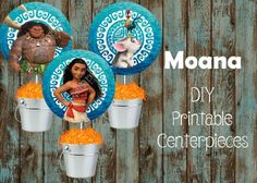 This listing is for NON EDITABLE JPG PDF printable file x inches page high resolution with Moana Centerpieces DIY printable Centerpieces inches each per letter size paper The files will Moana Disney, Moana Moana, Moana Bebe, Moana Birthday Party Supplies, 6th Birthday Parties, Birthday Fun, Birthday Ideas, Birthday Decorations, Moana Centerpieces