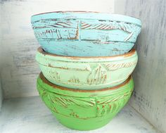 Set of 3 Shabby Chic Painted Carved Wood Bowls by HuckleberryVntg
