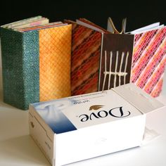 Recycled mini book (out of a box of soap)