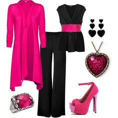 Pink and Black, created by kristina-jo-schafer-preston Vogue, Color Negra, Fashion Outfits, Womens Fashion, Fashion Beauty, Pretty In Pink, Playing Dress Up, What To Wear, Style Inspiration