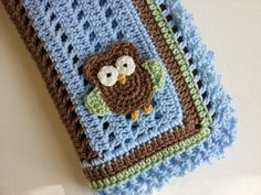 Crochet Owl Baby Blanket in Blue Brown and Green  by PoochieBaby