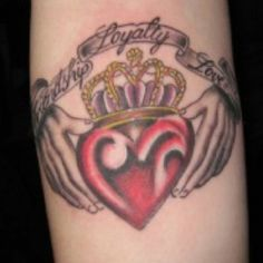 Tattoo idea :) i might make the hands look more feminine, but overall this is what i would like. The Claddagh <3