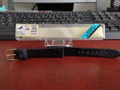 NOS Hadley Roma 16mm Genuine Teju Lizard Black Water Resistant Leather Band! #HadleyRoma