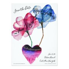 Save the Date - Flowers & Heart Card