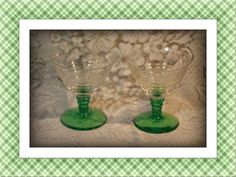 Pair Depression Glass Etched Green Bubble Stem Glasses. Starting at $20